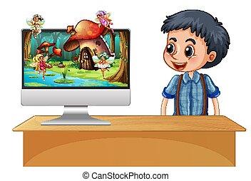 男の子, スクリーン, 次に, 妖精, コンピュータ