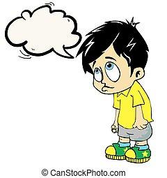男の子, スピーチ泡, 悲しい