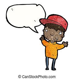 男の子, スピーチ, 漫画, 泡