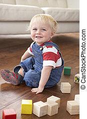 男の子, ブロック, 若い, 有色人種, 家, 遊び