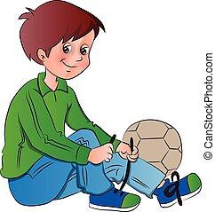 男の子, ベクトル, 結ぶこと, shoelace.