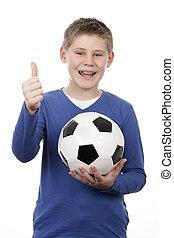 男の子, ボール, 若い, フットボール, 保有物