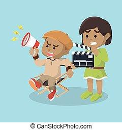 男の子, 助手, ディレクター, アフリカ, 映画, 女の子