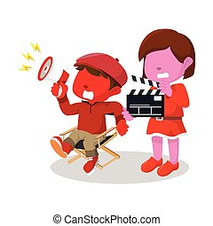 男の子, 助手, ディレクター, 映画, 女の子, 赤