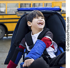 男の子, 古い, 車椅子, schoolbus, 不具, 5, 年