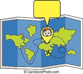 男の子, 地図, イラスト, 位置を定められた, ベクトル, スピーチ泡, 漫画