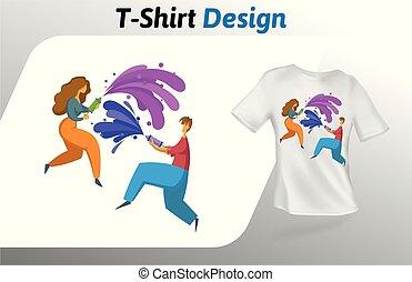 男の子, 女の子, 水, 隔離された, の上, tシャツ, バックグラウンド。, print., ベクトル, デザイン, template., 白, 遊び銃, mock, テンプレート
