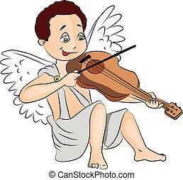 男の子, 妖精, ベクトル, violin., 遊び