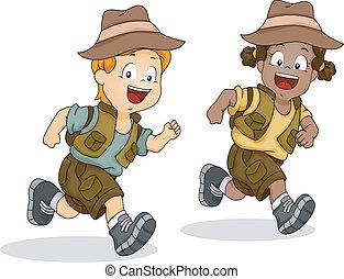 男の子, 子供, 動くこと, 冒険, サファリ, 女の子