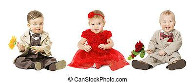 男の子, 子供, 花, 上に, 井戸, 隔離された, 服を着せられる, 子供, 優雅である, ファッション, 赤ん坊, 白, 女の子