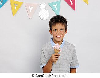 男の子, 幸せ, アイスクリーム