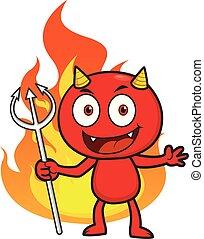 男の子, 悪魔, 特徴, 漫画, 赤