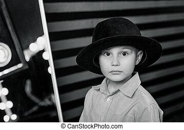 男の子, 撮影所写真, 若い, 黒, 流行, 肖像画, 帽子