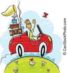 男の子, 旅行, ドライブしなさい, 自動車