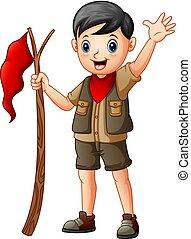 男の子, 旗, 偵察者, 保有物, 漫画, 赤