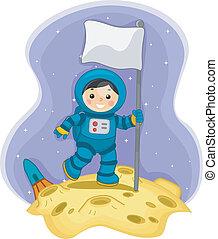 男の子, 旗, 宇宙飛行士, 月