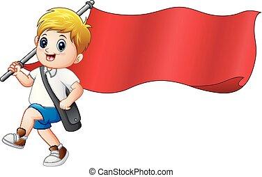 男の子, 旗, 漫画, 保有物, 赤