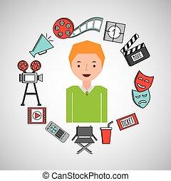 男の子, 映画館, 映画, 漫画, アイコン
