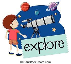 男の子, 望遠鏡, 幸せ