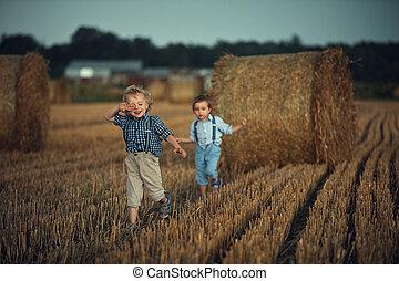 男の子, 楽しみ, 田舎, 持つこと, 2, 愛らしい