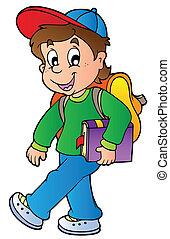 男の子, 歩くこと, 学校, 漫画