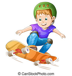 男の子, 漫画, スケーター