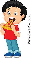 男の子, 漫画, ピザを 食べること