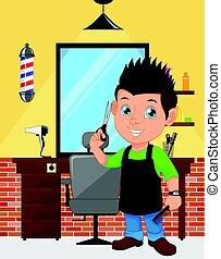男の子, 理髪師, 漫画