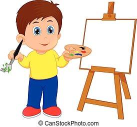 男の子, 絵, 漫画