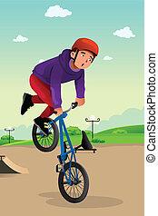 男の子, 自転車スタント