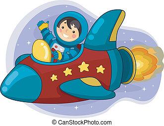 男の子, 船, 宇宙飛行士, 乗馬, スペース