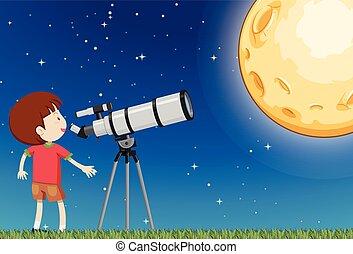 男の子, 観察, 月
