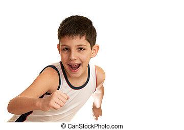 男の子, 運動競技, 行く, 笑い