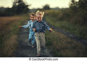 男の子, 道, 国, 動くこと, 2, 愛らしい