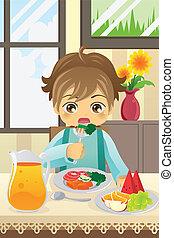 男の子, 野菜, 食べること