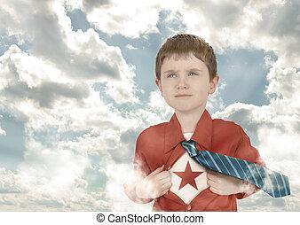 男の子, 雲, ワイシャツ, 子供, superhero, 開いた
