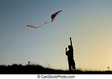男の子, 飛ぶ, 凧