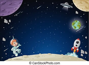 男の子, 飛行, 宇宙飛行士, 漫画