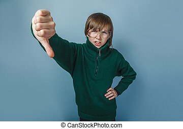 男の子, 10, 提示, 年, 下方に, 黒, 親指, european-looking