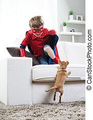 男の子, superhero, 犬