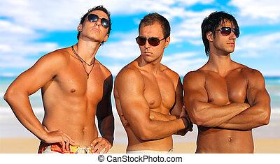 男性, 浜, 弛緩