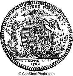 町, サイレン, ボート, 型, 提示, 2, コイン, dieppe, engraving.