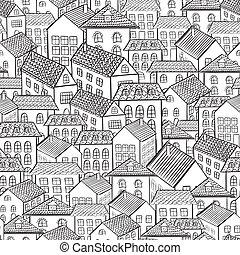 町, パターン, seamless, 家
