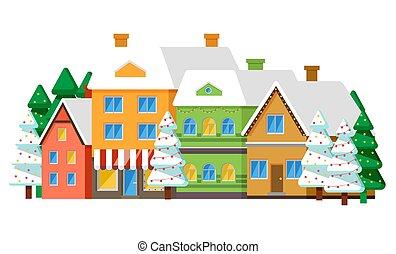 町, 冬, ∥あるいは∥, 横列, 村, ベクトル, 家