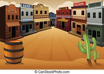 町, 古い, 西部