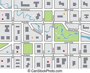 町, 地図, ベクトル, 道