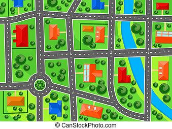 町, 地図, 郊外