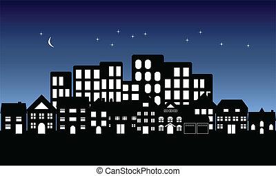 町, 夜, 秋