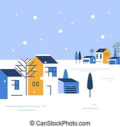 町, 小さい, 光景, 季節, 家, 冬, ごく小さい, グループ, 美しい, 村, 近所, 雪が多い, 空, 住宅の