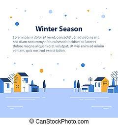 町, 小さい, 横列, 光景, 季節, 家, 冬, ごく小さい, 美しい, 近所, 村, 雪が多い, 空, 住宅の
